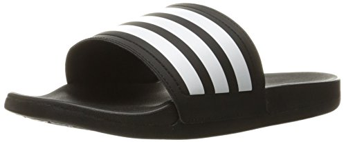 Image of the adidas Womens' Shoes | Adilette CF Ultra Stripes Athletic Slide Sandals, Black/White/Black, (8 M US)