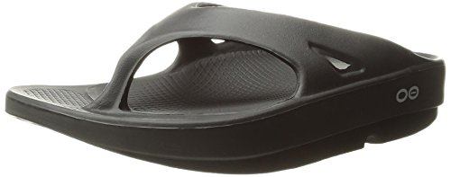 Image of the OOFOS Unisex Original Thong flip flop , Black, 8 M US Women /  6 M US Men's