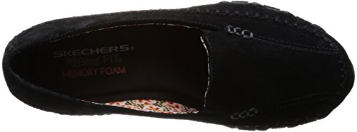 Image of the Skechers Women's Bikers-Pedestrian Memory Foam Moccasin,Black Suede,10 M US