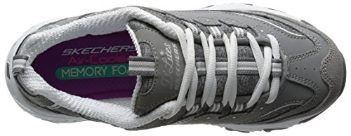 Image of the Skechers Sport Women's D'Lites Memory Foam Lace-up Sneaker,Grey/White,7.5 M US