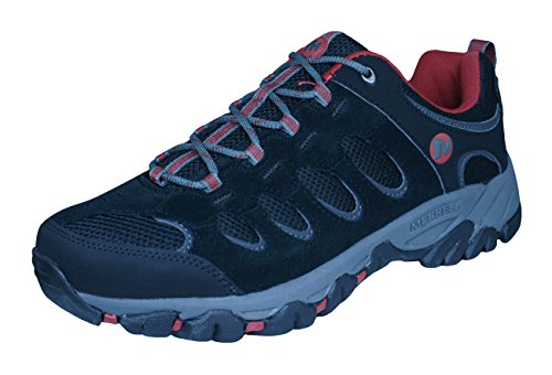 Image of the Merrell Ridgepass Low Black Hiking Trail Mens Shoes (13, Black/Red Ochre)