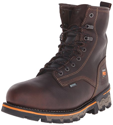 Image of the Timberland PRO Men's 8 inch Boondock Soft Toe Waterproof Ins Work Boot, Brown Tumbled Leather, 11.5 W US