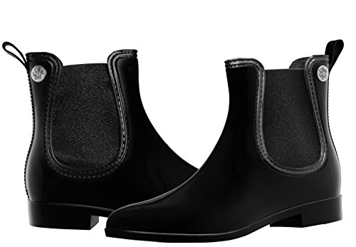 Image of the Silky Toes Women's Fashion Elastic Slip On Short Rain Boots (38, Black With Black Metallic Elastic)