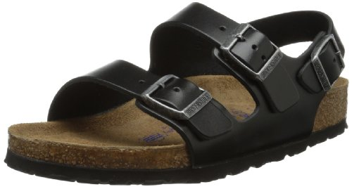 Image of the Birkenstock Unisex Milano SFB Flat, Black Amalfi Leather, 42 BR/9 M US