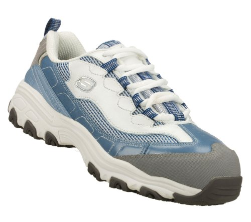 Image of the Skechers Work D'Lites SR Service Slip Resistant Safety Toe Sneakers Lt Blue/White 6
