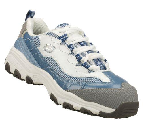 Image of the Skechers Work D'Lites SR Service Slip Resistant Safety Toe Sneakers Lt Blue/White 6