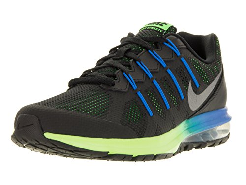 Image of the Nike Mens Air Max Dynasty Prem Running Shoe (10.5 D(M) US, Black/Metallic Cool Gray/Electric Green/Photo Blue)