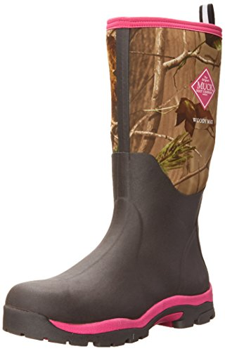 Image of the Muck Boot Womens Woody Pk Hunting Shoes, Bark/Realtree/Hot Pink, 7 US/7-7.5 M US