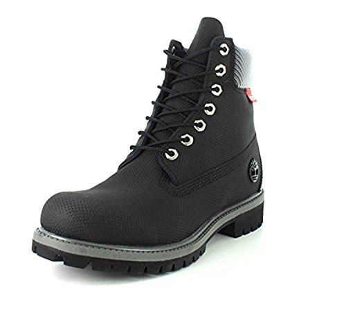 Image of the Timberland M's Helcor Leather 6' Prem GTX BLK Relief Helcor PU Coated Split 9 M