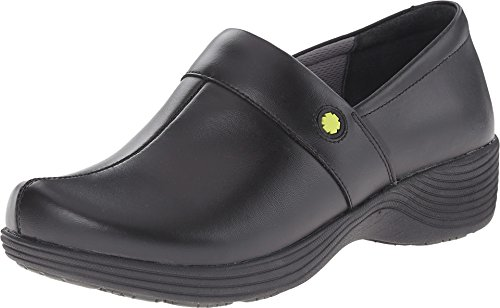 Image of the Work Wonders by Dansko Women's Camellia Slip Resistant Shoe- Black Leather- 39 M EU (8.5-9 US)