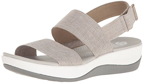 Image of the CLARKS Women's Arla Jacory Wedge Sandal, Sand, 8 M US