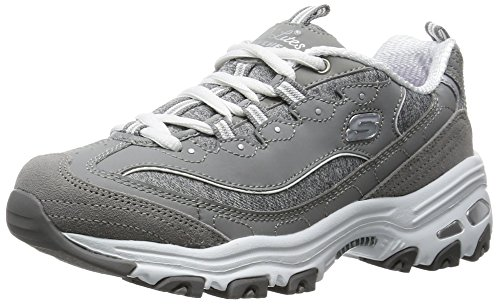 Image of the Skechers Sport Women's D'Lites Memory Foam Lace-up Sneaker,Grey/White,8 W US