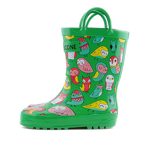 Image of the LONE CONE Children's Waterproof Rubber Rain Boots in Fun Patterns with Easy-on Handles Simple for Kids, Hoot-y Boots, 4 M US Toddler