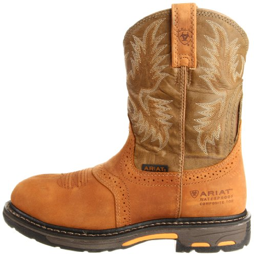 Image of the Ariat Men's Workhog Pull-on H2O Composite Toe Work Boot, Aged Bark/Army Green, 14 M US