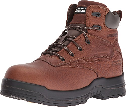Image of the Rockport Womens Deer Tan WP Leather Work Boots More Energy Comp Toe 8 M