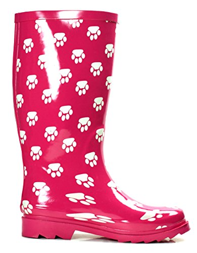 Image of the OwnShoe Women's Fashion Rain Boots Multiple Styles Available Waterproof (6, Pink Paw)