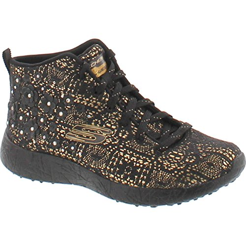 Image of the Skechers Women's Burst Black Gold Oxford